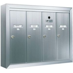 4 Compartment Surface Mount Vertical Mailboxes - Anodized Aluminum