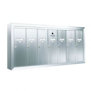 7 Compartment Surface Mount Vertical Mailboxes - Anodized Aluminum