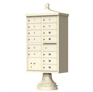 Cluster Box Unit  With Finial Cap and Traditional Pedestal Accessories -13 Compartments