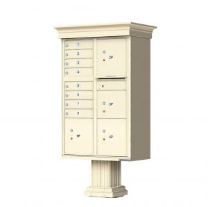 Decorative Crown Cap CBU Commercial Mailboxes - 8 Door with 4 Parcel Lockers