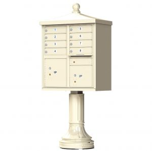 Cluster Box Unit  With Finial Cap and Traditional Pedestal Accessories -8 Compartments