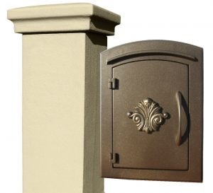 Manchester Security Locking Stucco Column Mailbox with Scroll Emblem - Stucco Column Included (Choose Colors)