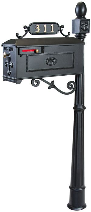 Imperial Residential Mailbox System with Fleur de Lis Mailbox