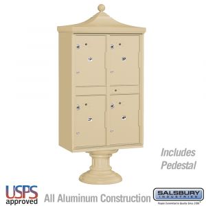 Salsbury Regency Decorative Outdoor Parcel Locker with 4 Compartments with USPS Access - Type II