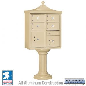 Salsbury Regency Decorative Cluster Mailbox Unit with 4 Doors and 2 Parcel Lockers with USPS Access - Type V