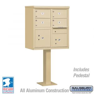 Salsbury Cluster Mailbox Unit with 4 Doors and 2 Parcel Lockers with USPS Access - Type V
