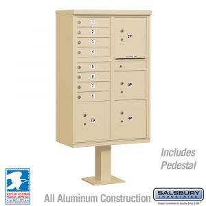 Salsbury Cluster Mailbox Unit with 8 Doors and 4 Parcel Lockers with USPS Access - Type VI