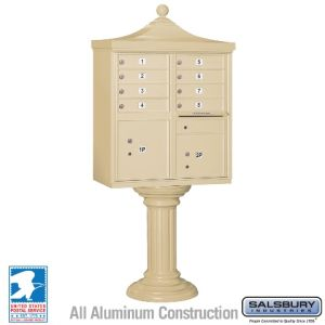 white 8 door decorative usps cluster mailbox