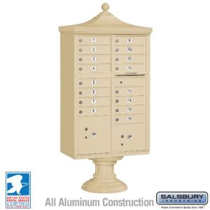 white 16 door decorative usps cluster mailbox