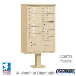 white 16 door usps cluster mailbox