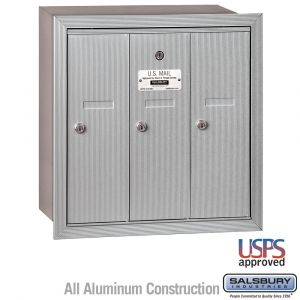 Salsbury 3503RU 3 Door Vertical Mailbox Finish Recessed Mounted USPS Access