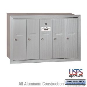 Salsbury 3505RU 5 Door Vertical Mailbox Finish Recessed Mounted USPS Access