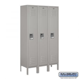 Standard Metal Locker - Single Tier - 3 Wide - 5 Feet High - 12 Inches Deep - Choose Color