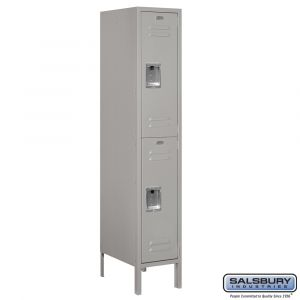 Standard Metal Locker - Double Tier - 1 Wide - 5 Feet High - 18 Inches Deep - Choose Color