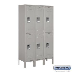 Standard Metal Locker - Double Tier - 3 Wide - 5 Feet High - 12 Inches Deep - Choose Color