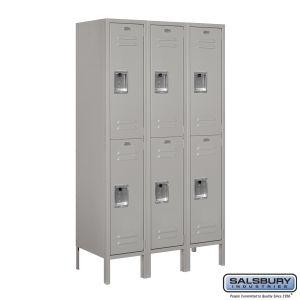 Standard Metal Locker - Double Tier - 3 Wide - 5 Feet High - 15 Inches Deep - Choose Color