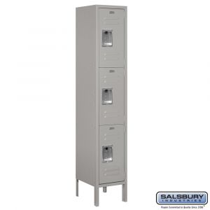 Standard Metal Locker - Triple Tier - 1 Wide - 5 Feet High - 12 Inches Deep - Choose Color