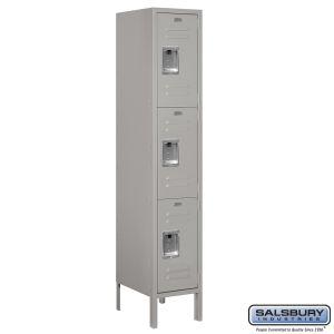 Standard Metal Locker - Triple Tier - 1 Wide - 5 Feet High - 15 Inches Deep - Choose Color