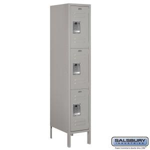 Standard Metal Locker - Triple Tier - 1 Wide - 5 Feet High - 18 Inches Deep - Choose Color