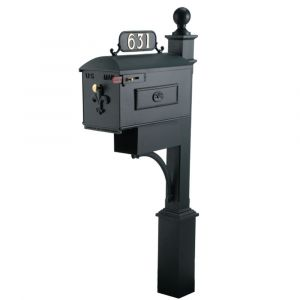 imperial cast aluminum residential mailbox with post 631kl-6