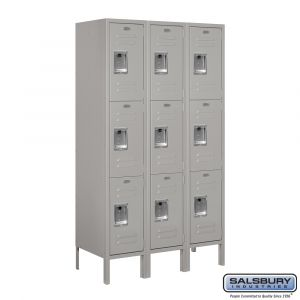 Standard Metal Locker - Triple Tier - 3 Wide - 5 Feet High - 15 Inches Deep - Choose Color