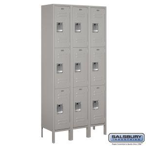 Standard Metal Locker - Triple Tier - 3 Wide - 6 Feet High - 12 Inches Deep