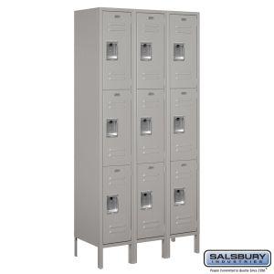 Standard Metal Locker - Triple Tier - 3 Wide - 6 Feet High - 15 Inches Deep