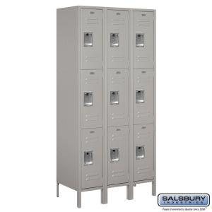 Standard Metal Locker - Triple Tier - 3 Wide - 6 Feet High - 18 Inches Deep