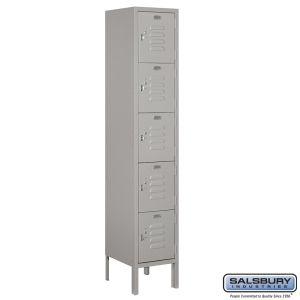 Standard Metal Locker - Five Tier Box Style - 1 Wide - 5 Feet High - 12 Inches Deep - Choose Color