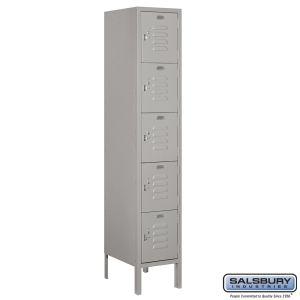 Standard Metal Locker - Five Tier Box Style - 1 Wide - 5 Feet High - 15 Inches Deep - Choose Color