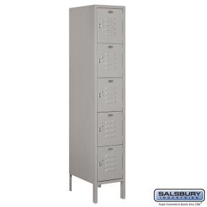 Standard Metal Locker - Five Tier Box Style - 1 Wide - 5 Feet High - 18 Inches Deep - Choose Color