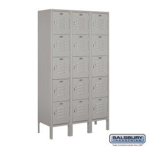 Standard Metal Locker - Five Tier Box Style - 3 Wide - 5 Feet High - 12 Inches Deep - Choose Color