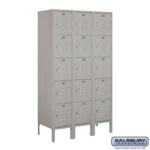 Standard Metal Locker - Five Tier Box Style - 3 Wide - 5 Feet High - 15 Inches Deep - Choose Color