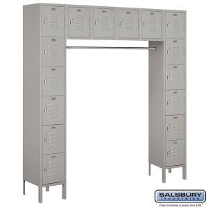 Standard Metal Locker - Six Tier Box Style Bridge - 16 Box - 18 Inches Deep