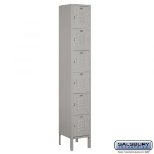 Standard Metal Locker - Six Tier Box Style - 1 Wide - 6 Feet High - 12 Inches Deep