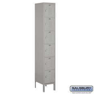 Standard Metal Locker - Six Tier Box Style - 1 Wide - 6 Feet High - 15 Inches Deep - Choose Color