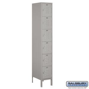Standard Metal Locker - Six Tier Box Style - 1 Wide - 6 Feet High - 18 Inches Deep