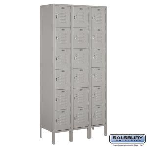 Standard Metal Locker - Six Tier Box Style - 3 Wide - 6 Feet High - 15 Inches Deep - Choose Color