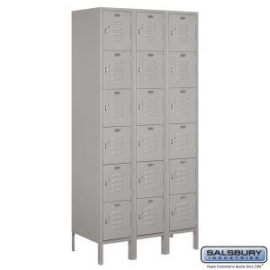Standard Metal Locker - Six Tier Box Style - 3 Wide - 6 Feet High - 18 Inches Deep - Choose Color
