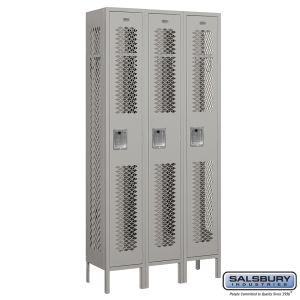 Vented Metal Locker - Single Tier - 3 Wide - 6 Feet High - 12 Inches Deep - Choose Color