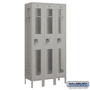Vented Metal Locker - Single Tier - 3 Wide - 6 Feet High - 15 Inches Deep - Choose Color