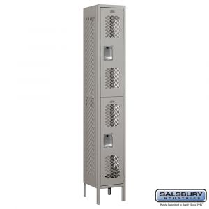 Vented Metal Locker - Double Tier - 1 Wide - 6 Feet High - 12 Inches Deep - Choose Color