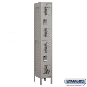 Vented Metal Locker - Double Tier - 1 Wide - 6 Feet High - 15 Inches Deep - Choose Color