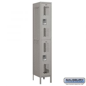 Vented Metal Locker - Double Tier - 1 Wide - 6 Feet High - 18 Inches Deep - Choose Color