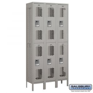 Vented Metal Locker - Double Tier - 3 Wide - 6 Feet High - 12 Inches Deep - Choose Color