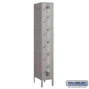 Vented Metal Locker - Six Tier Box Style - 1 Wide - 6 Feet High - 18 Inches Deep