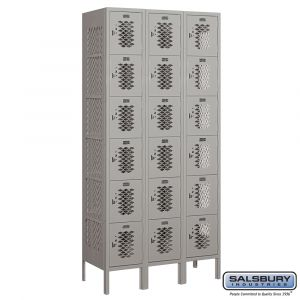 Vented Metal Locker - Six Tier Box Style - 3 Wide - 6 Feet High - 15 Inches Deep