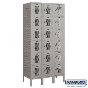Vented Metal Locker - Six Tier Box Style - 3 Wide - 6 Feet High - 18 Inches Deep