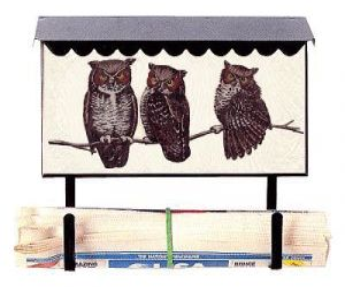 Bacova Gardens 10034 Owls Horizontal Wall Mounted Mailbox