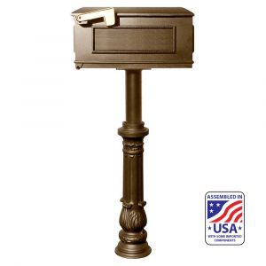 The Hanford SINGLE Lewiston mailbox post system with ornate base